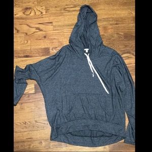 Light weight grey hoodie. Shorter front. Medium.